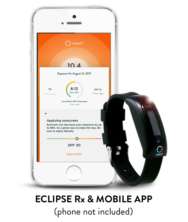 Eclipse Rx Advanced Sun Protection - Wearable UV Monitoring Device & Mobile App for iOS and Android